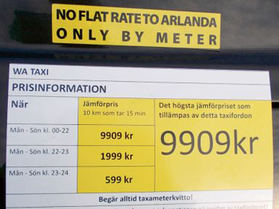 A swedish taxi must have price information!
